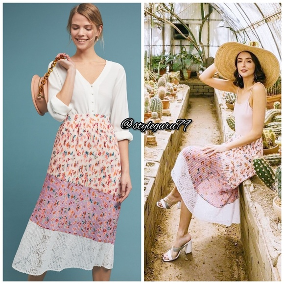 Anthropologie Dresses & Skirts - NWT, Anthropologie, LAIA Pleated Floral Midi Skirt
